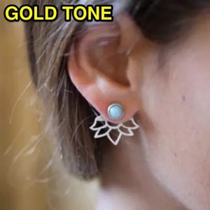 ⚜️[𝟯/$𝟭𝟴]⚜️Gold Lotus Boho Jacket Earrings NEW